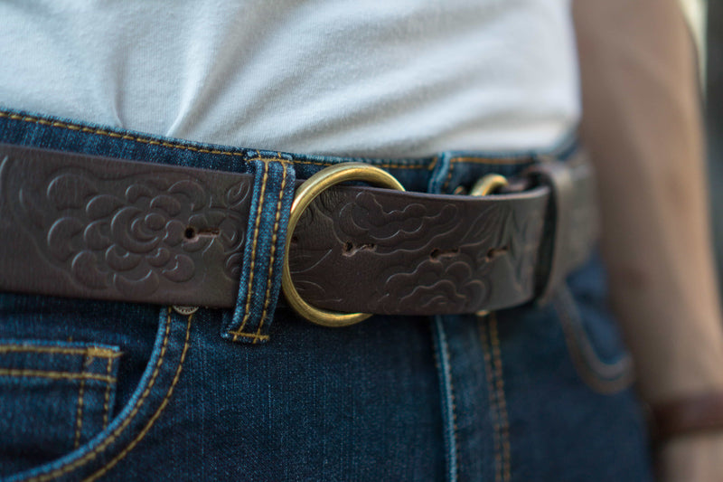 Brown 100% Real Leather Belt with Gold Buckle Made in Canada