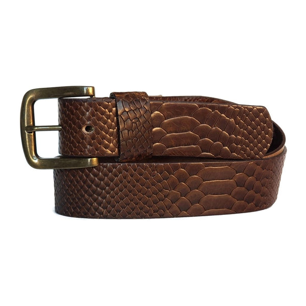 Snake Skin Embossed 100 % Real Leather Belt Made in Canada
