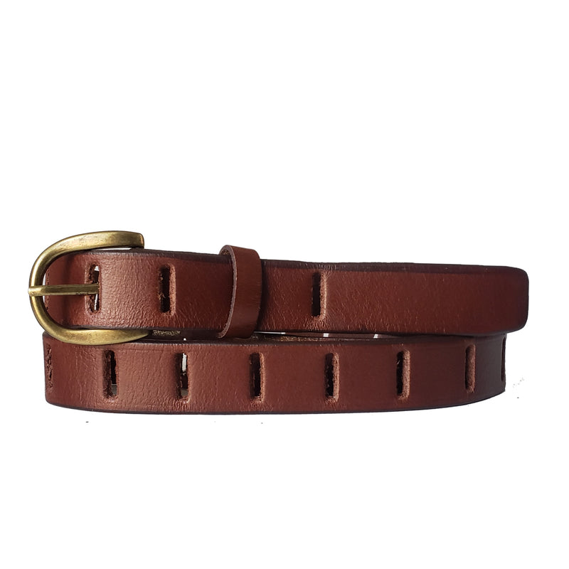 Brown Full Grain Leather Belt with Gold Buckle Made in Canada