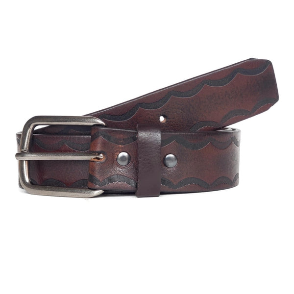 Dark Brown Wave Patterned 100% Real Leather Belt Made in Canada