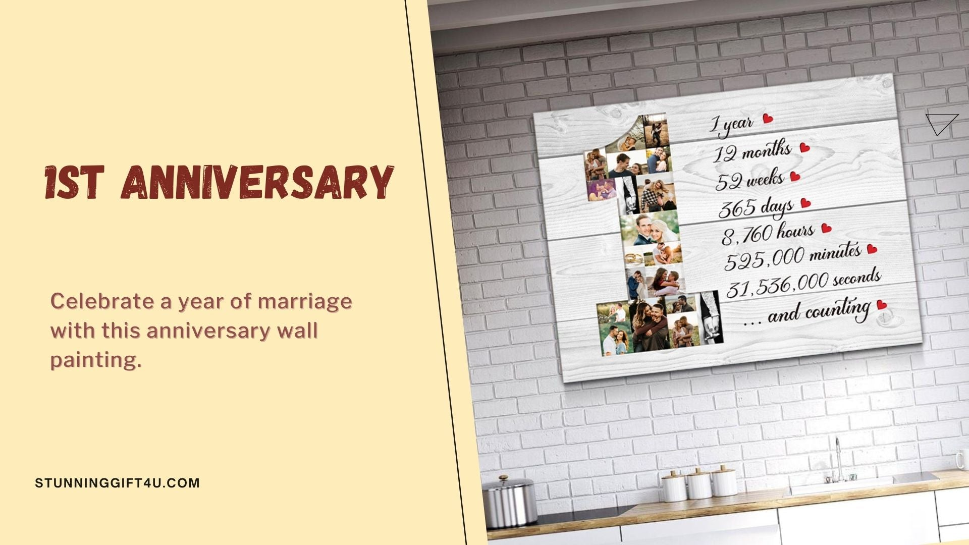1st anniversary wall art gift for him