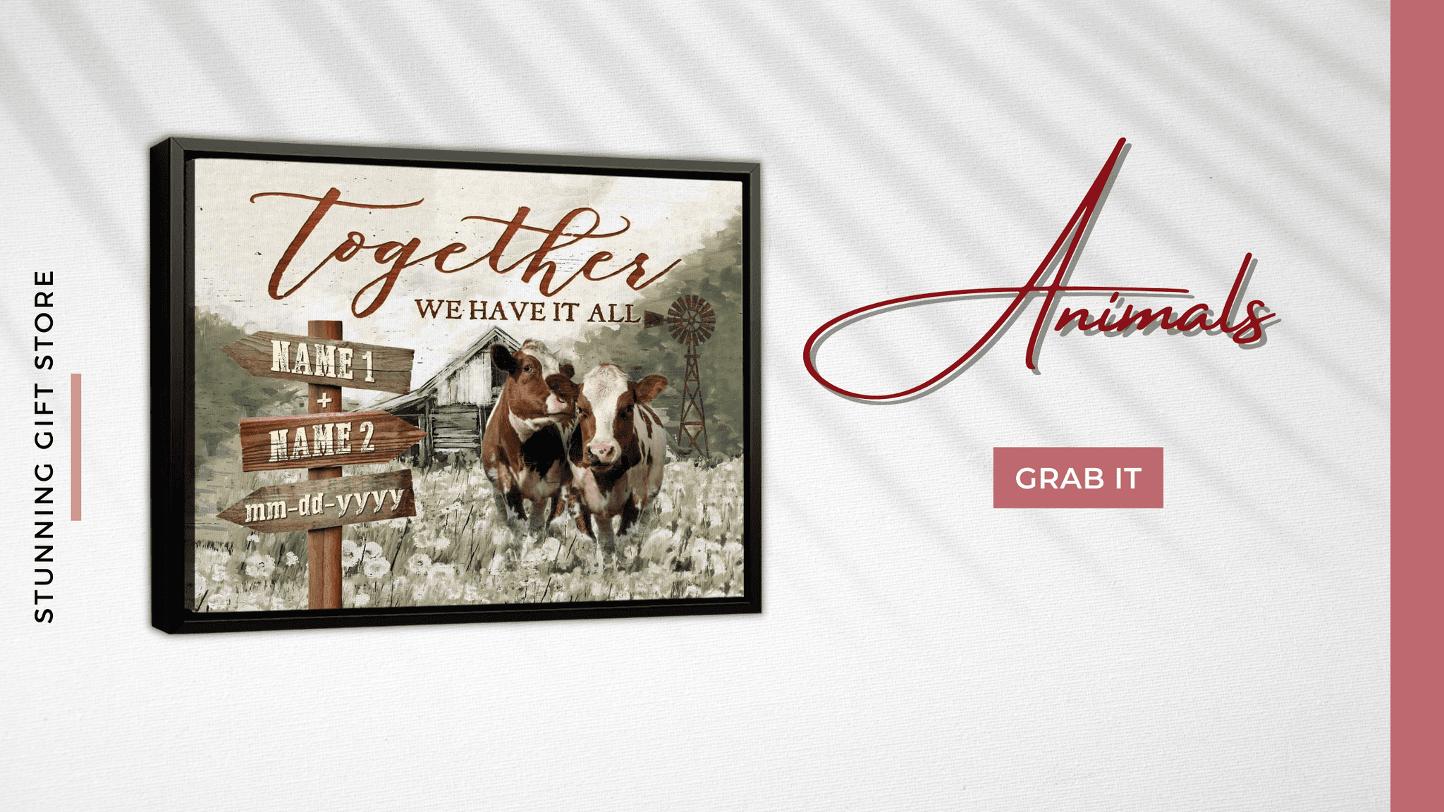 Together We Have It All Wall Art | Animal Canvas Print | Farmhouse Wall Art