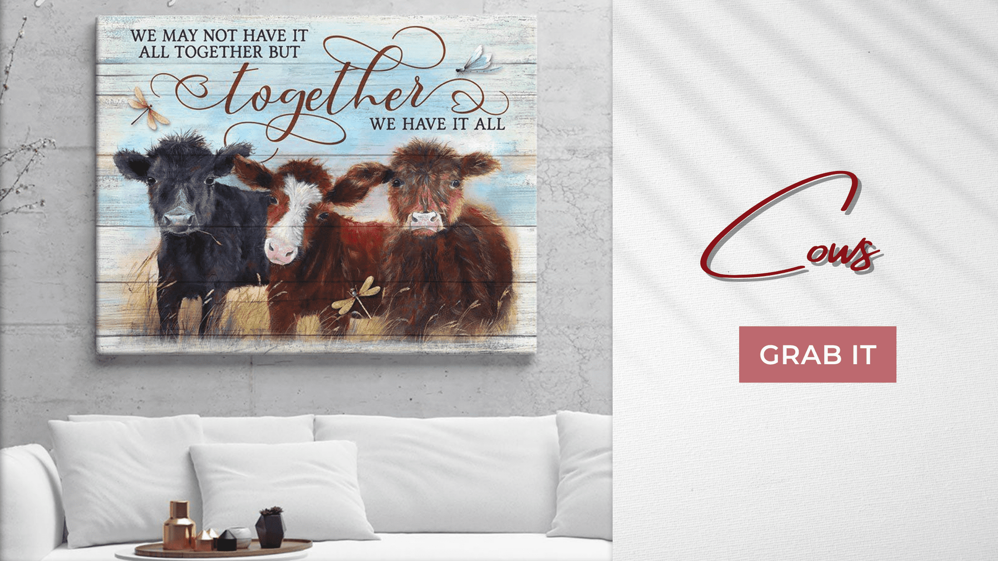 Together We Have It All Wall Art | Highland Cow Wall Art