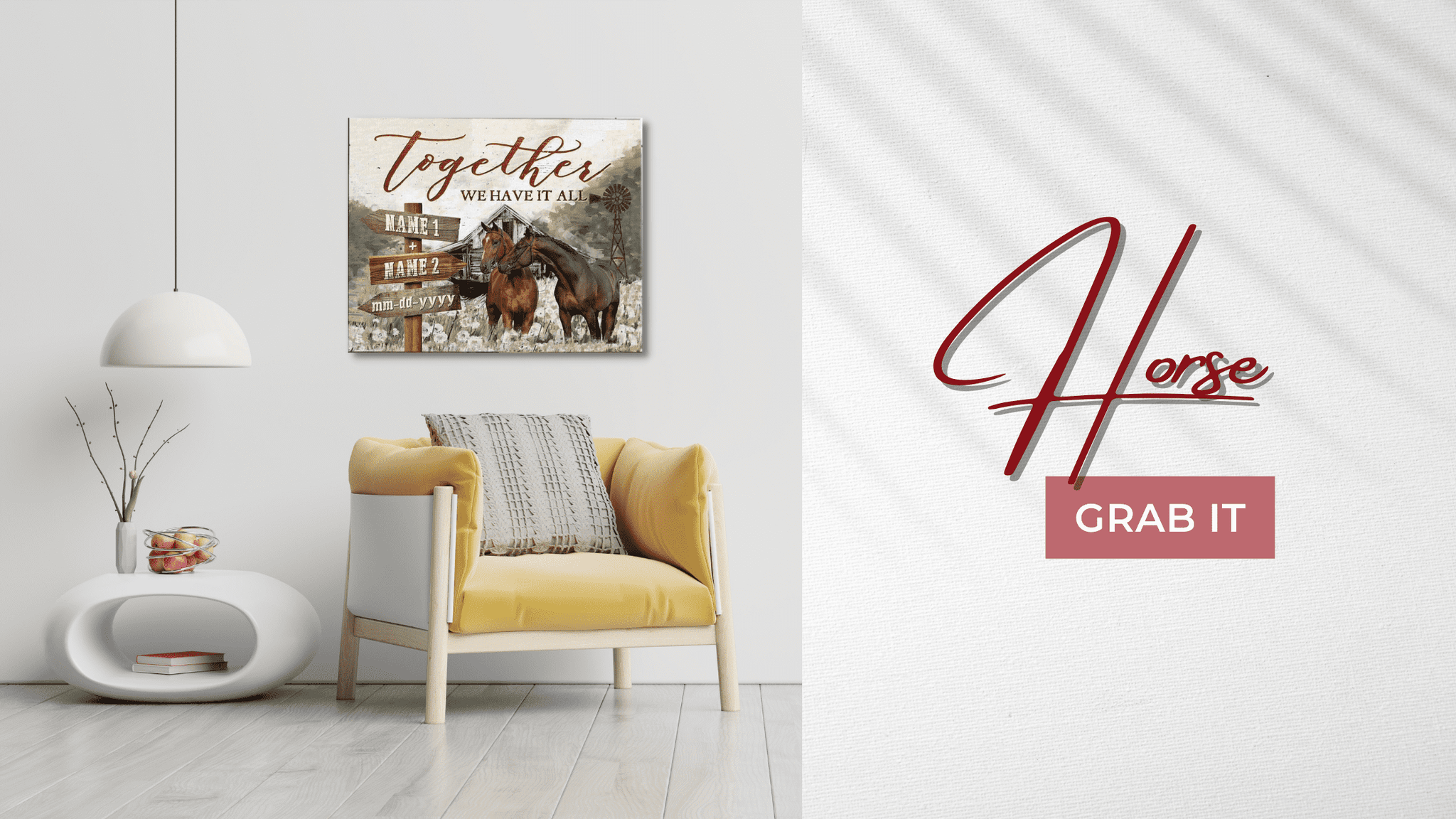 Together We Have It All Wall Art | Horse Wall Decor | Personalized Canvas Art