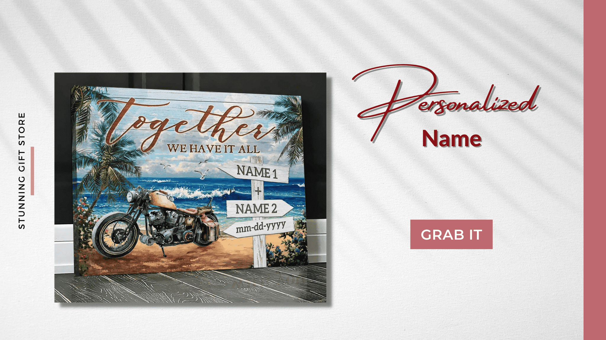 Personalized Gifts | Motorcycle Canvas | Together we have it all wall art