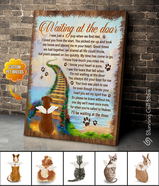 Custom Dog Memorial Wall Art, Personalized Dog Canvas, Waiting At The Door, Gift For Loss of Pet