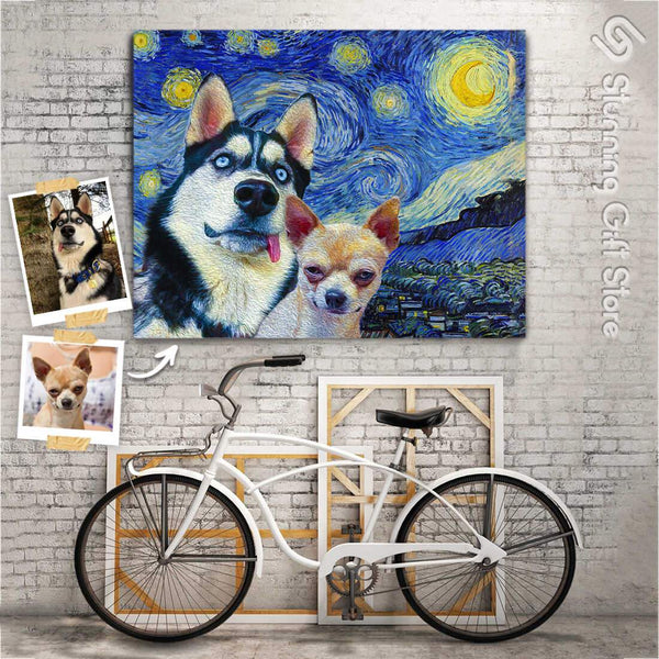 STARRY NIGHT TWO PET PORTRAITS CUSTOM PORTRAITS FUNNY DOG PORTRAITS FROM PHOTOS
