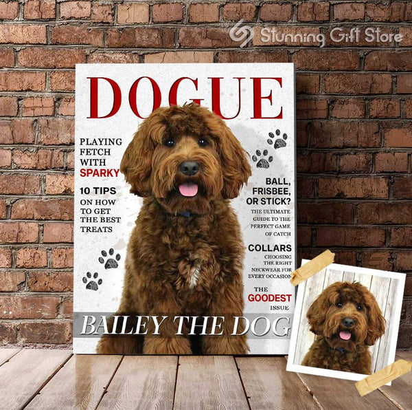 PET MAGAZINE PERSONALIZED PET PORTRAIT GIFT FOR DOG LOVER   DOGUE