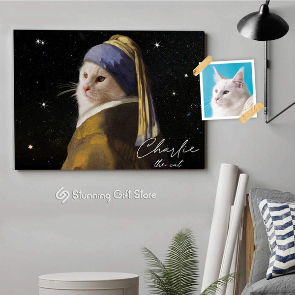 GIRL WITH A PEARL EARRING DOG PORTRAITS CUSTOM PET WALL ART PERSONALISED PET CANVAS