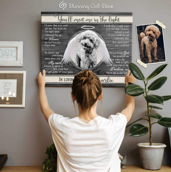 DOG ANGEL WINGS PERSONALIZED PET MEMORIAL REMEMBERING DOG GIFTS YOU'LL MEET ME IN THE LIGHT