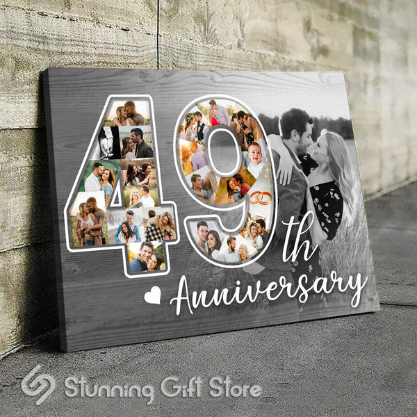 49th Anniversary Gift For Him, 49 Year Anniversary Gift For Her, Photo Collage Canvas Print