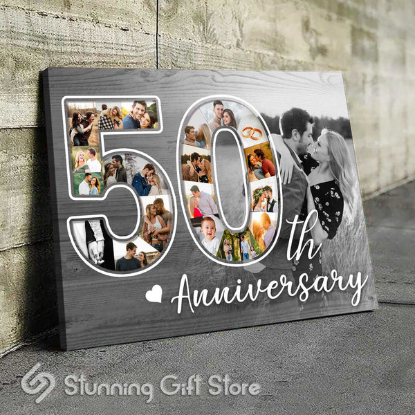 50th Anniversary Gift For Him, 50 Year Anniversary Gift For Her, Photo Collage Canvas Print