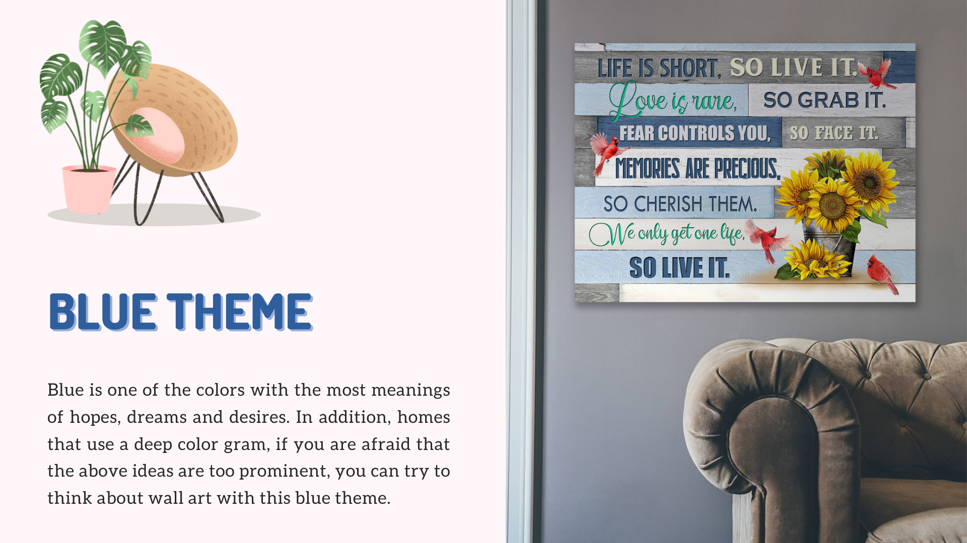 Life is short so live it meaningful wall art blue theme decor idea from stunning gift store