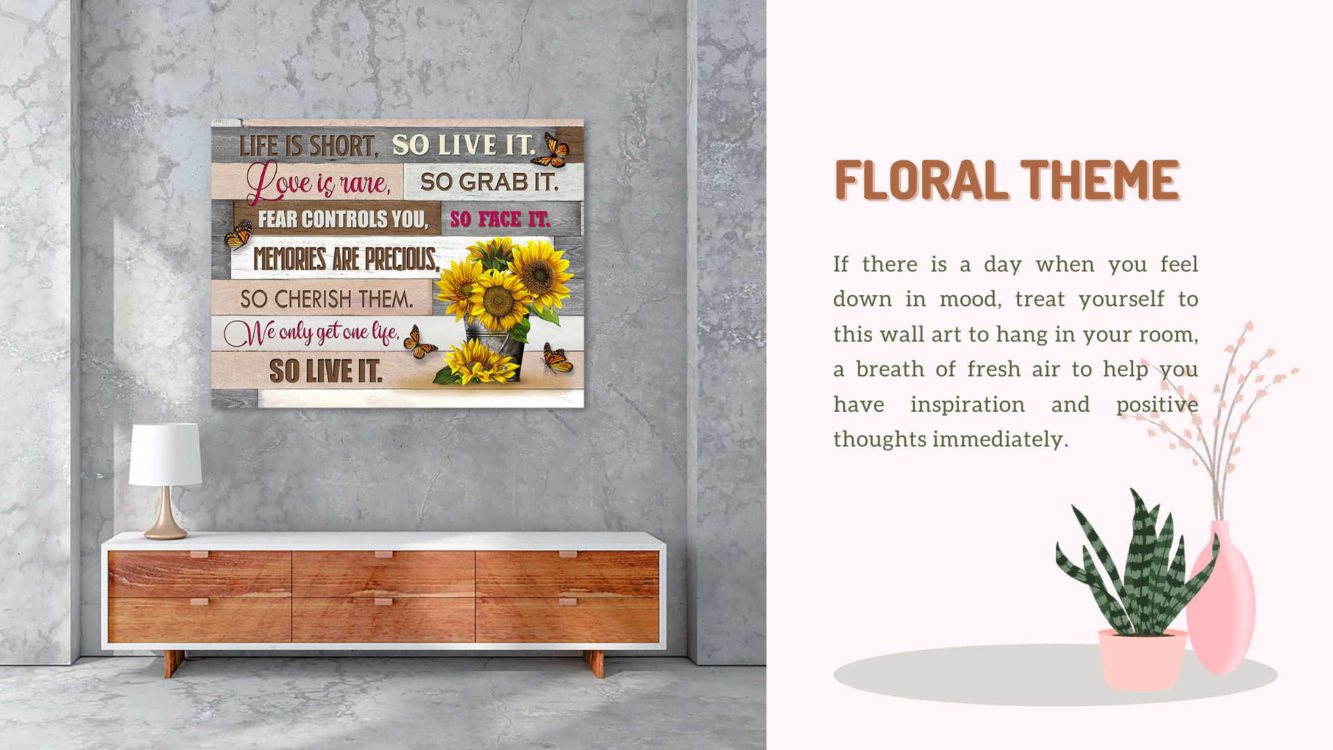Life is short so live it meaningful wall art floral theme decor idea from stunning gift store