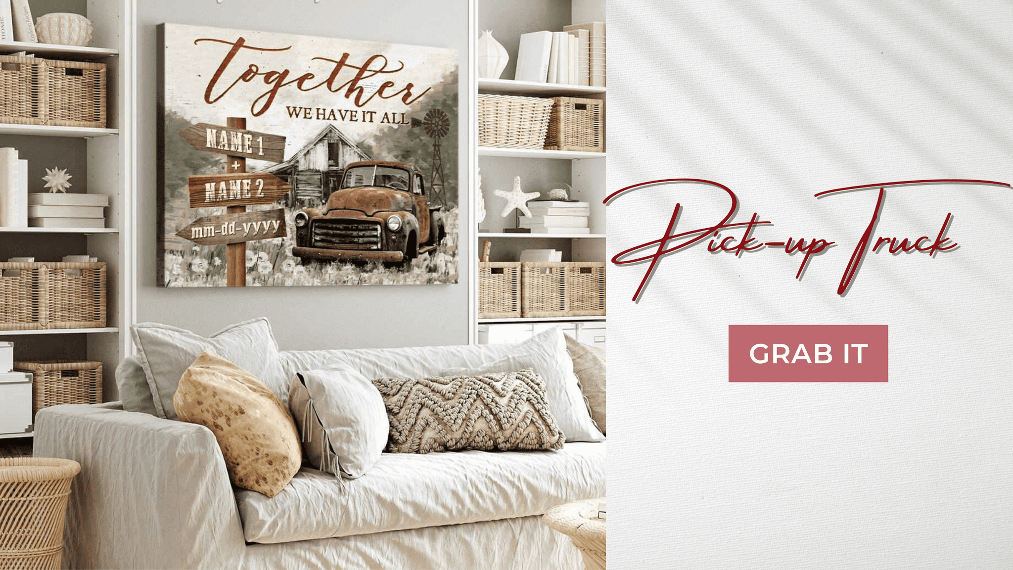 Personalized Wall Art Rustic Pickup Truck Canvas Farmhouse Decor Together We Have It All