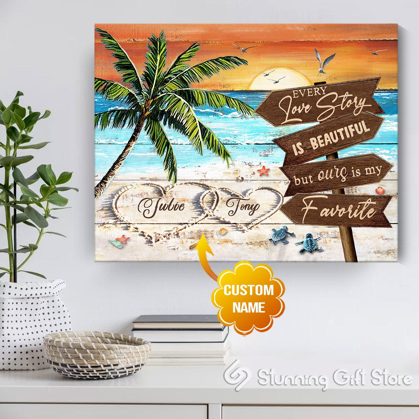 Beach canvas art   Personalized anniversary gift   Best gift for wife on wedding anniversary