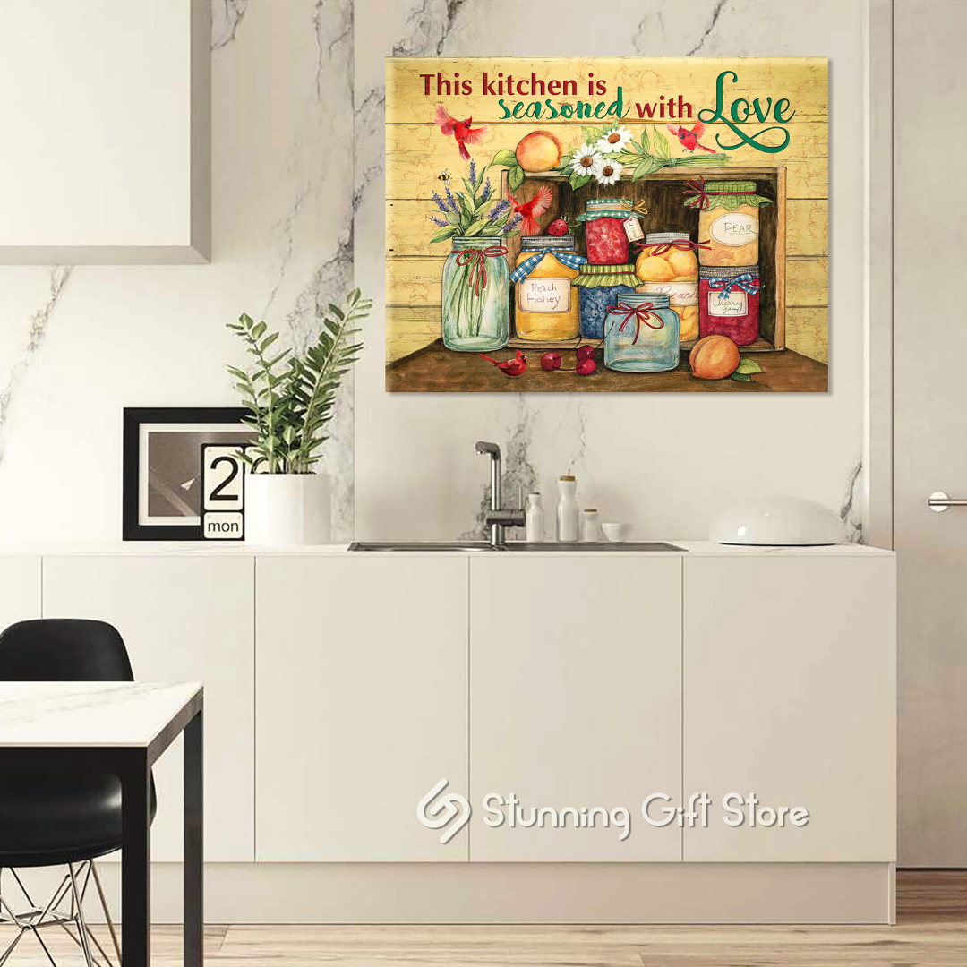 STUNNING GIFT KITCHEN CANVAS THIS KITCHEN IS SEASONED WITH LOVE CARDINAL DINING ROOM GIFT IDEA