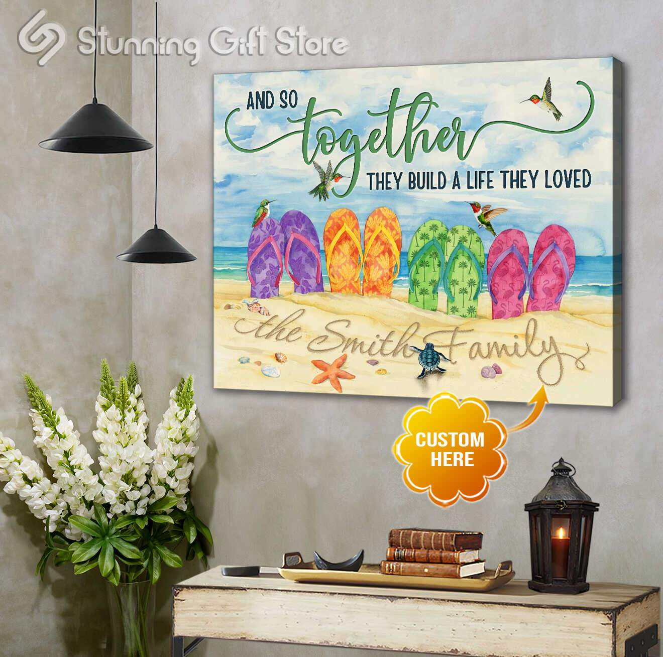 Together we built a life we love   Beach canvas print   Stunning Gift Store