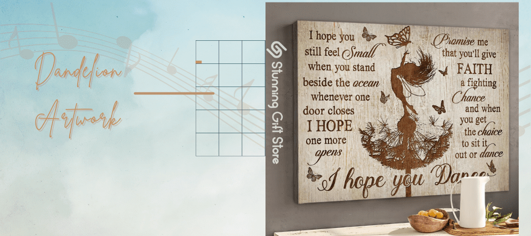 Song I Hope You Dance on Canvas  Dandelion And Butterfly Canvases Art   Gift Idea For Granddaughter