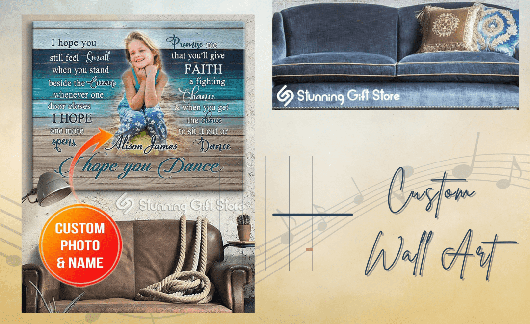 Custom Photo And Name   Beach Canvas Wall Hanging   Song I hope You Dance On Wall Art