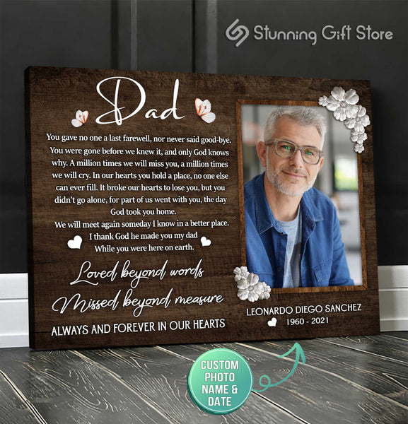 Memorial Picture Frame, Sympathy Gifts For Loss Of Father, Personalized Memorial Canvas Prints