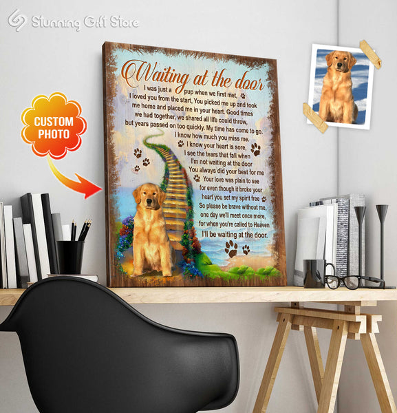 Custom Pet Memorial, Personalized Dog Memorial Gifts, Gifts To Remember A Pet, Waiting At The Door Sign