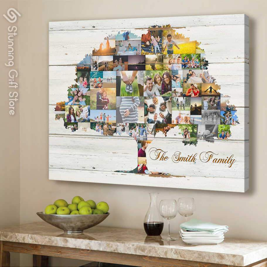 Multi Picture Family tree wall art   Personalized photo gifts   Gifts For the whole family