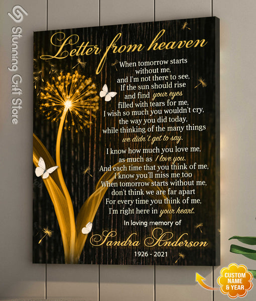 When Tomorrow Starts Without Me Canvas, Custom Canvas Art, Memorial Wall Decor, Letter From Heaven Sign