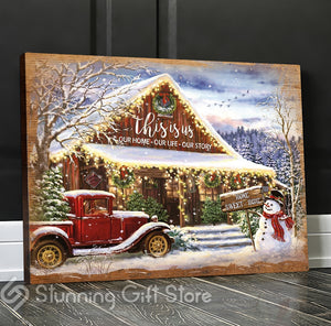 Stunning Gift Christmas Canvas Red Barn Wall Art Ideas For Christ Store