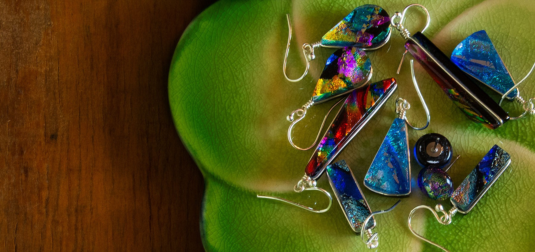 Nickel Free Dichroic Glass Earring Made in North Carolina