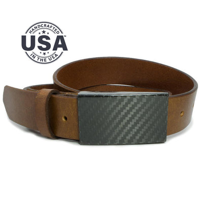 Zero metal belt - carbon fiber buckle is handstitched to full grain brown leather strap, made in USA