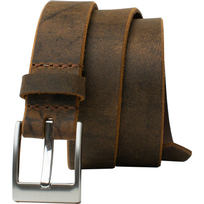 Caraway Mountain Distressed Leather Brown Belt by Nickel Smart, Made in USA. Nickel Free