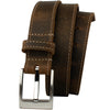 Caraway Mountain Distressed Leather Brown Belt (Stitched) by Nickel Smart - athenaallergy.com, nickel free