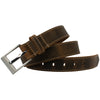 Caraway Mountain Distressed Leather Brown Belt (Stitched) by Nickel Smart - athenaallergy.com, work belt
