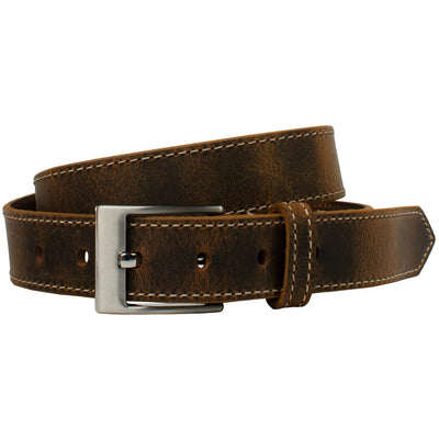 Caraway Mountain Distressed Leather Brown Belt (Stitched) by Nickel Smart - athenaallergy.com, hypoallergenic