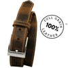 Caraway Mountain Distressed Leather Brown Belt (Stitched) by Nickel Smart - athenaallergy.com, full grain leather