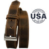 Caraway Mountain Distressed Leather Brown Belt (Stitched) by Nickel Smart - athenaallergy.com, made in USA