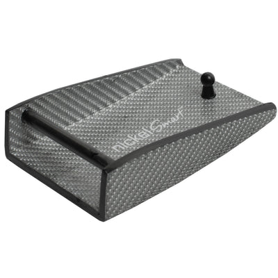 "Carbon Fiber Silver Weave Hook Buckle (1½"") by Nickel Smart - athenaallergy.com, hypoallergenic"