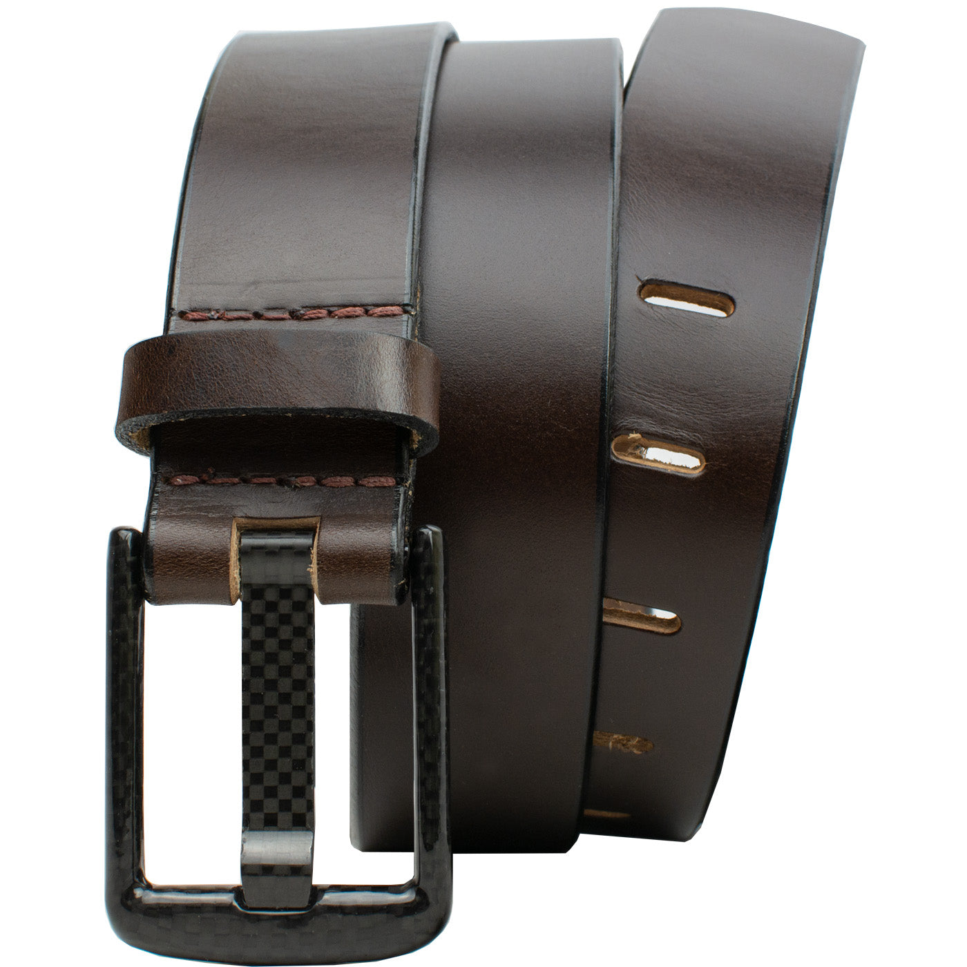 Carbon Fiber Wide Pin Brown Belt by Nickel Smart, athenaallergy.com, nickel free, hypoallergenic