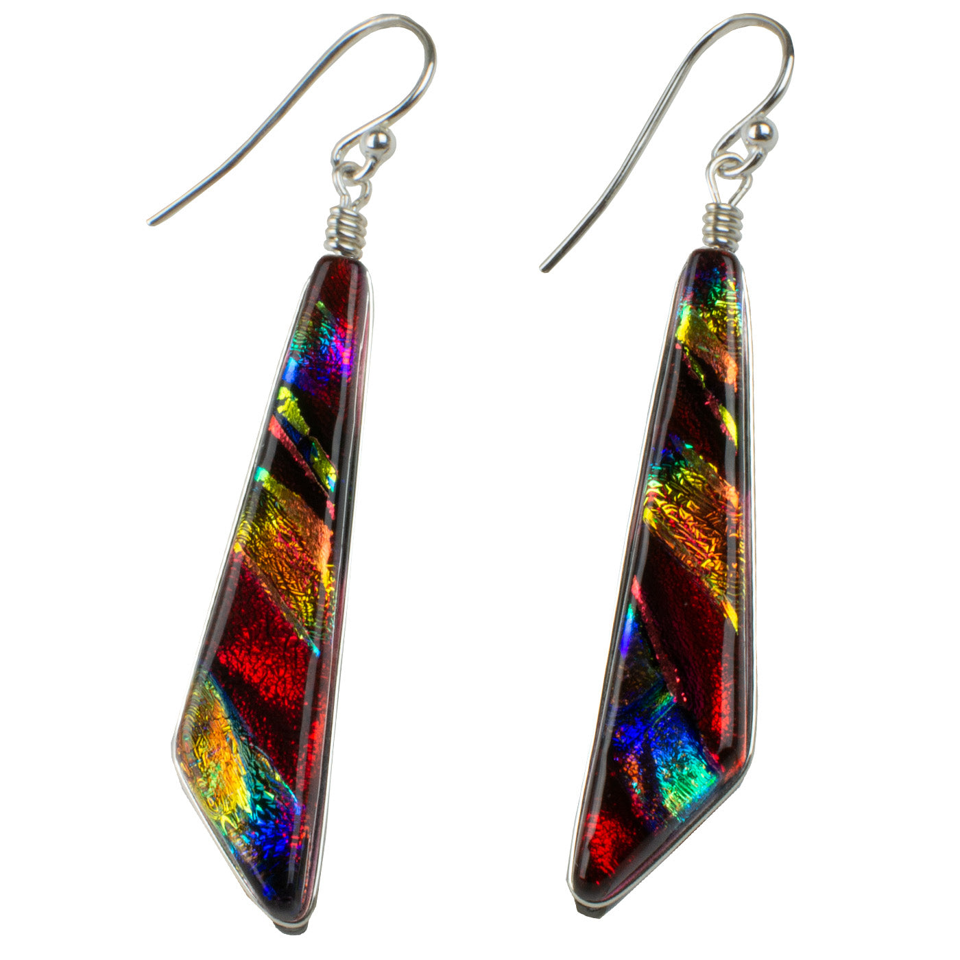 Cascades Earrings - Rainbow Red by Nickel Smart - athenaallergy.com, handmade in the USA