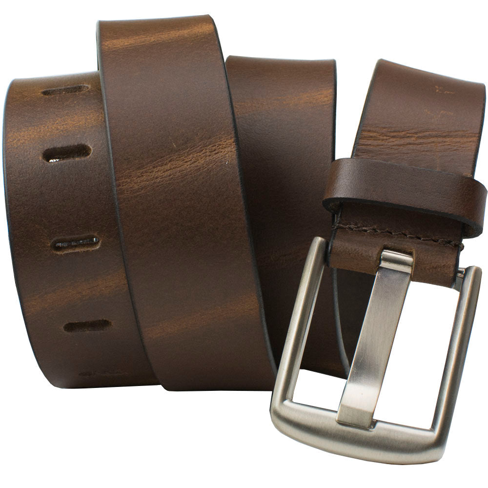 Great value - brown slightly distressed leather with the popular nickel free wide pin buckle makes a great belt for anyone with nickel allergy
