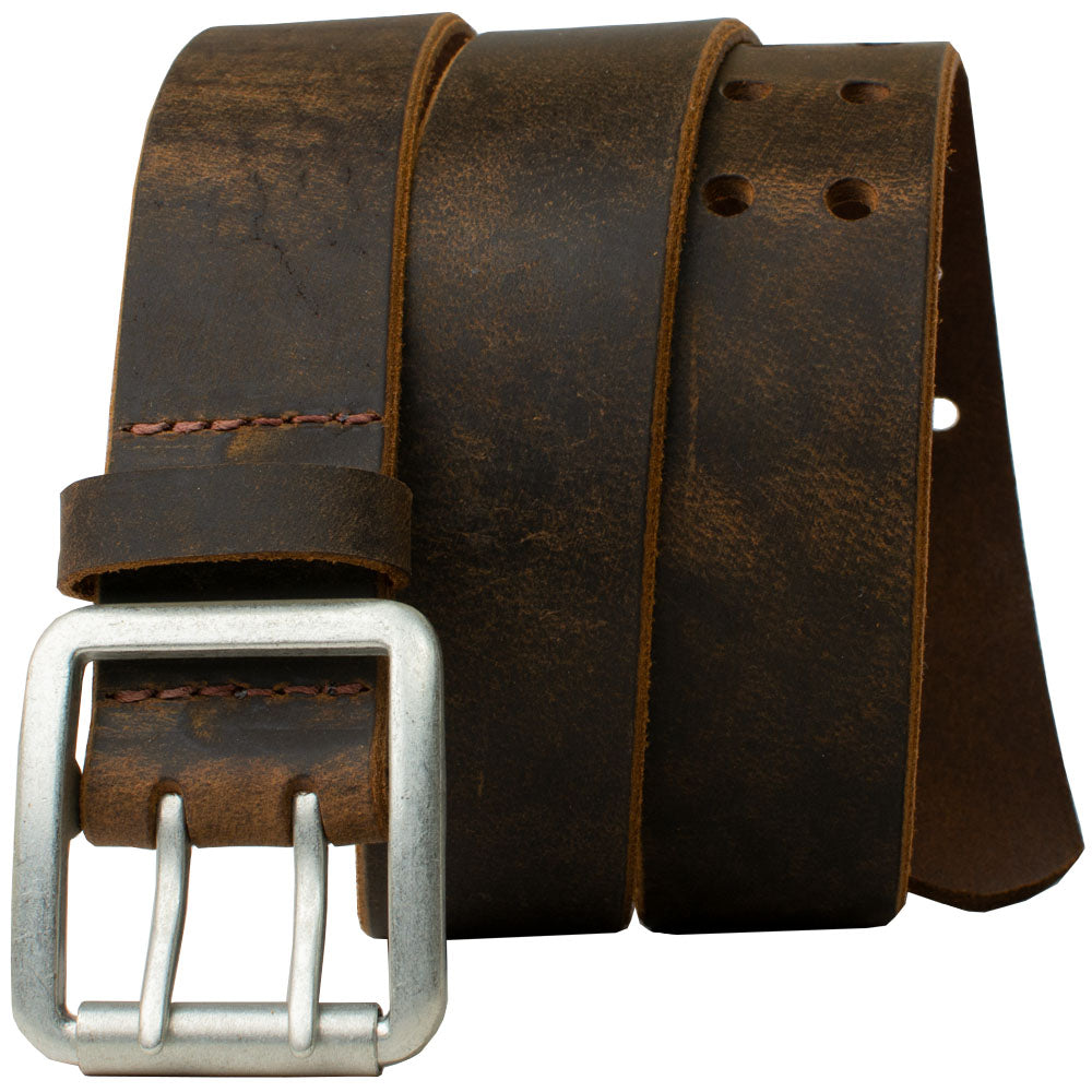 Ridgeline Trail Distressed Leather Belt (Brown) by Nickel Smart - athenaallergy.com, nickel free