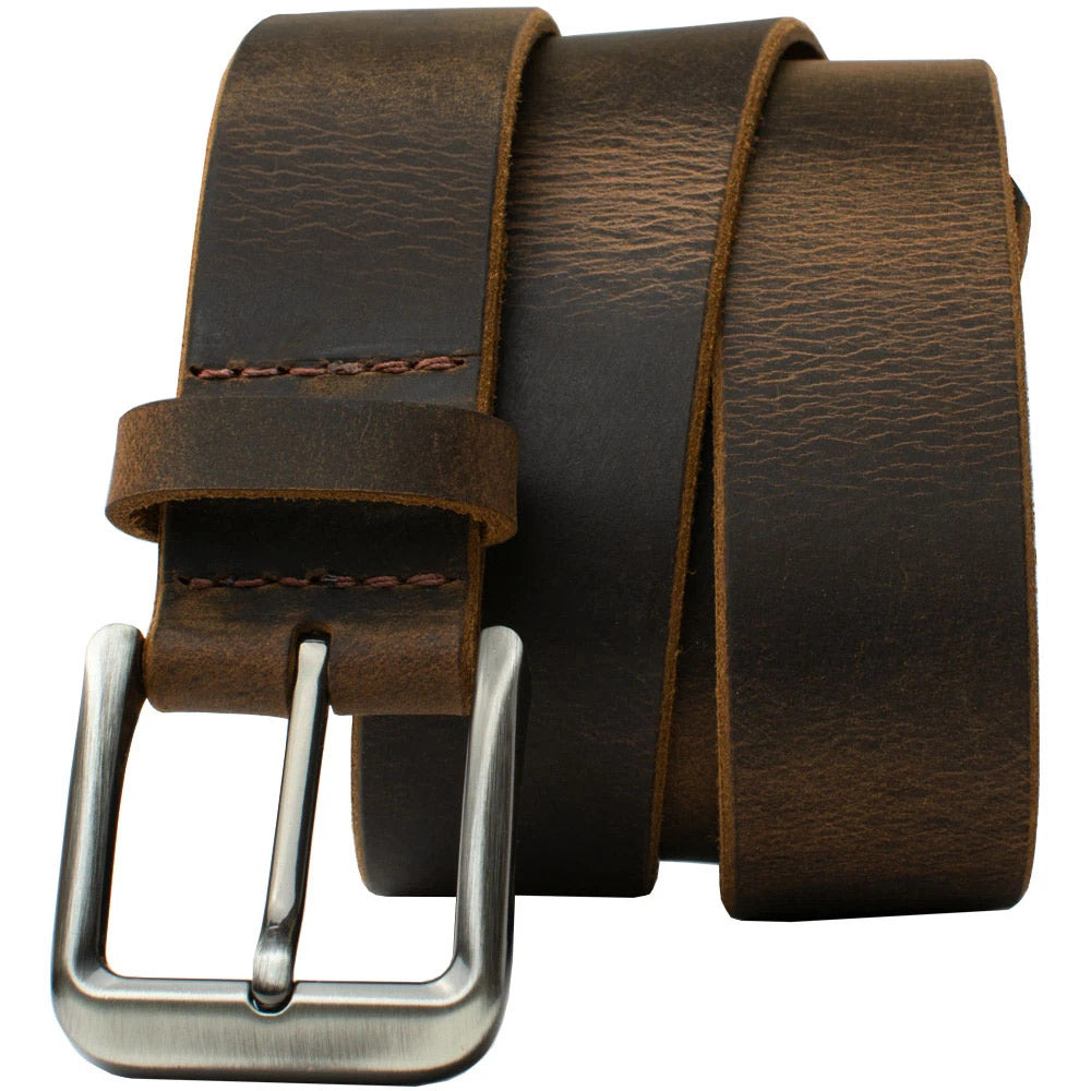Roan Mountain Distressed  Brown Leather Belt | 1.5 inches | Made in USA | Nickel free Buckle