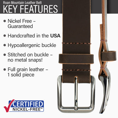 1.5 inch brown belt | Nickel Free buckle | Genuine Leather | Made in USA | Brown Leather belt | Hypoallergenic Buckle