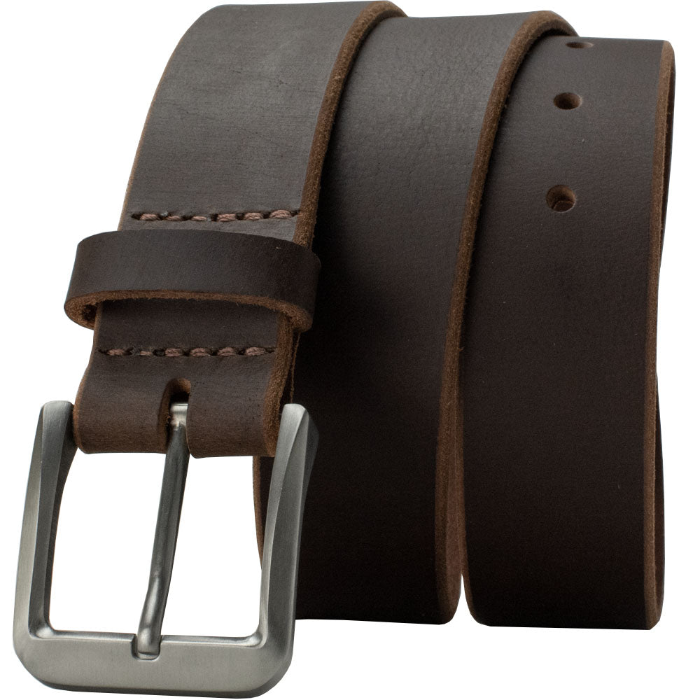 Genuine Leather Brown Belt Strap with Titanium Buckle.  Roan Mountain Titanium Belt