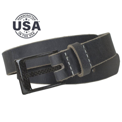 Carbon Fiber Square Wide Pin Distressed Leather Belt (Gray) By Nickel Smart - Nickel Free Belt, made in the USA