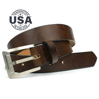 Doctor-recommended titanium buckle is paired with sleek brown strap for a great-looking nickel free dress belt