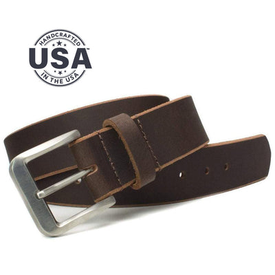 Doctor-recommended titanium buckle is paired with brown full grain leather strap - nickel free belt is handcrafted in the USA