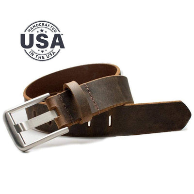 Nickel Free Titanium Wide Pin Distressed Brown Leather Belt - doctor recommended for those with nickel allergy. Made in the USA