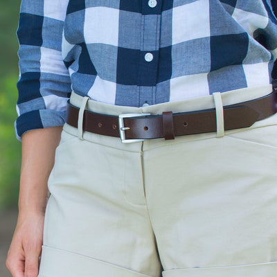 Handcrafted, nickel free brown leather belt